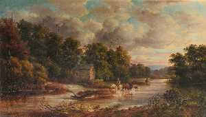 John Joseph Hughes - Mill on the Usk, Monmouthshire