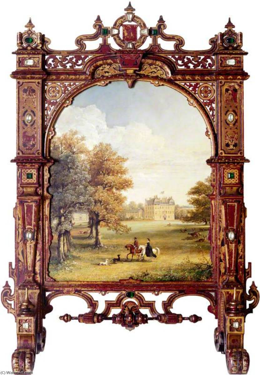 Keith Hall, Inverurie (fire screen), 1850 by Jennens Bettridge | Oil Painting | WahooArt.com