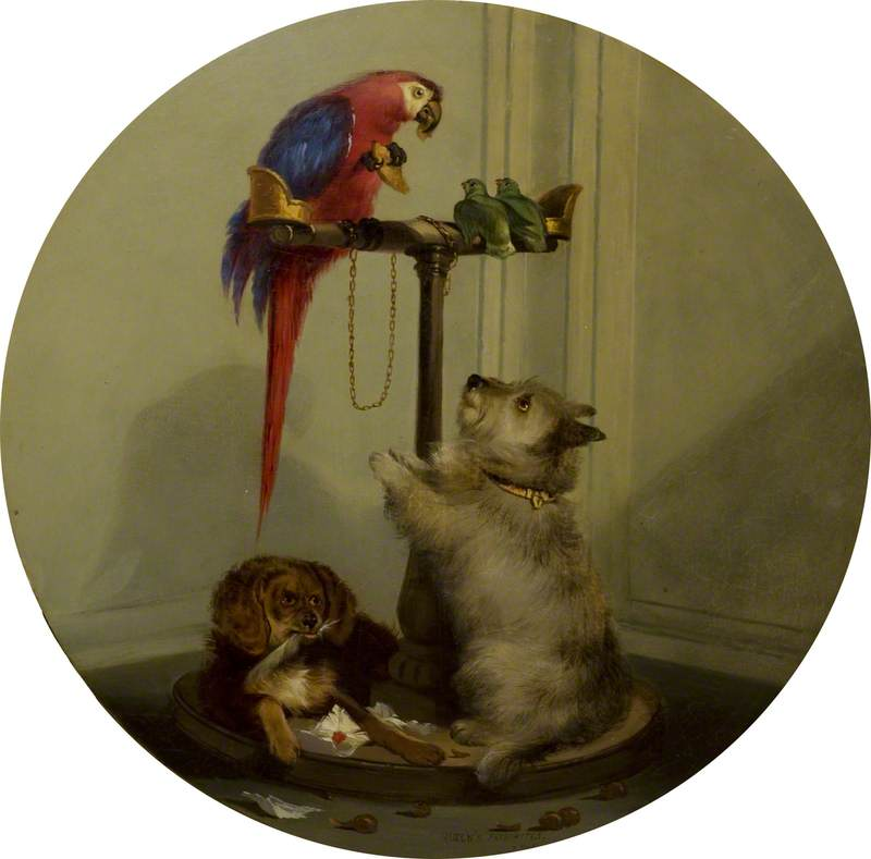 Interior with Household Pets (after Edwin Henry Landseer) by Jennens Bettridge | WahooArt.com