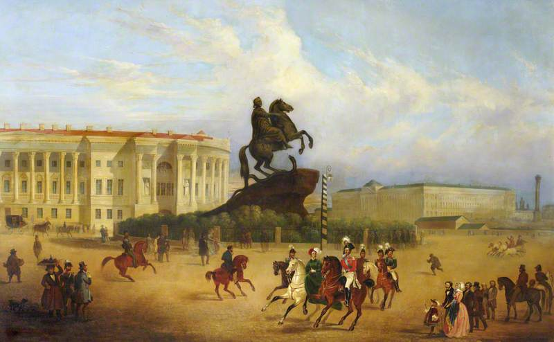 Senate Square, St Petersburg, with Falconet`s Statue of Peter the Great by Jennens Bettridge | Oil Painting | WahooArt.com