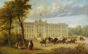 Jennens Bettridge - Buckingham Palace (before the Aston Webb facade), with an Open Carriage Leaving the Palace