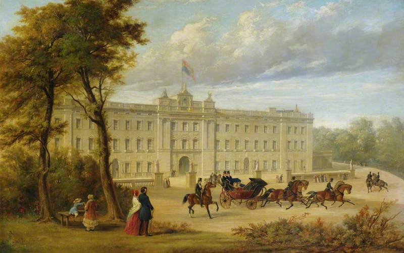 Buckingham Palace (before the Aston Webb facade), with an Open Carriage Leaving the Palace, Oil by Jennens Bettridge