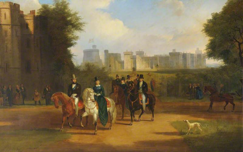 Windsor Castle with Queen Victoria, Prince Albert and Arthur Wellesley, 1st Duke of Wellington, Riding from the Castle by Jennens Bettridge | WahooArt.com