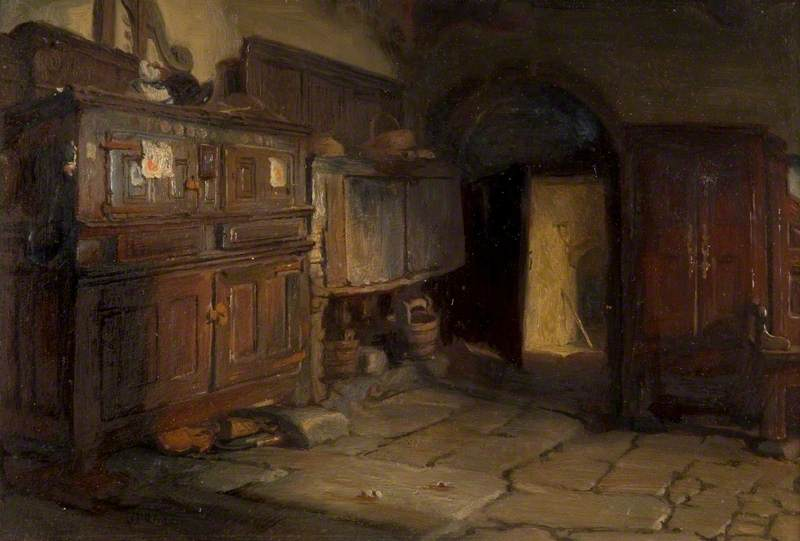 A Breton Cottage Interior, 1887 by Jonathan Pratt | Famous Paintings Reproductions | WahooArt.com
