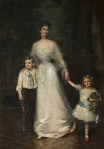 John Ernest Breun - Elizabeth Louisa Penelope Theobald (d.1959), Countess of Stamford, and Her Two Children, Roger Grey (1896–1976), Later 10th Earl of Stamford, and Lady Jane Grey (1899–1991), Later Lady Jane Turnbull