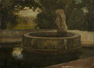 Order Museum Quality Reproductions : Fountain in Garden, 1880 by William Bright Morris | WahooArt.com