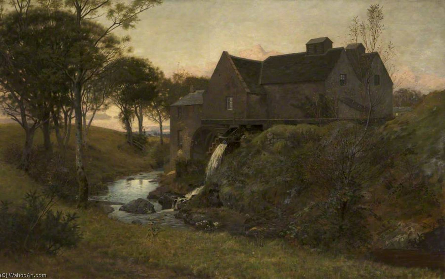 Order Art Reproduction : An Old Watermill, near Campbelltown, 1878 by William Bright Morris | WahooArt.com