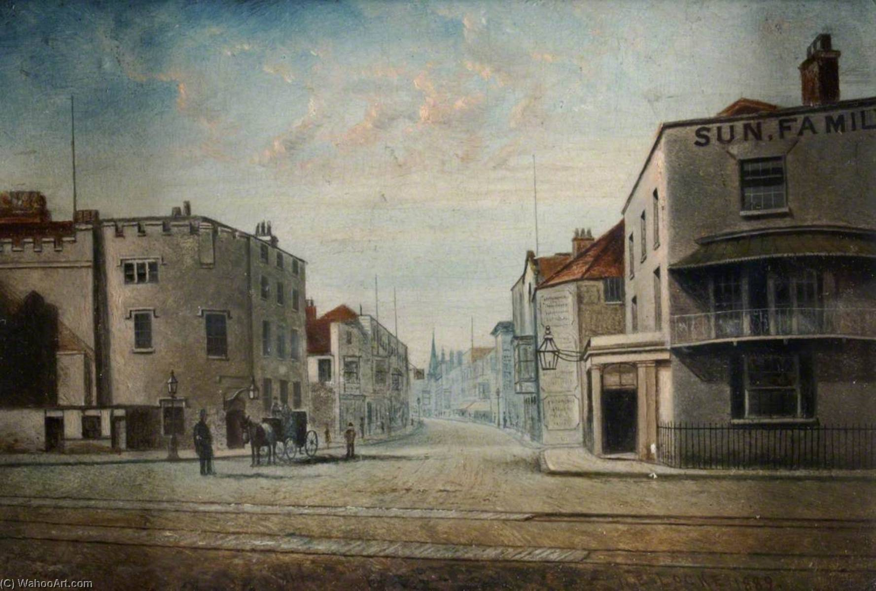 High Street, Southampton, Looking from the Quay, 1889 by Henry Edward Locke | Oil Painting | WahooArt.com