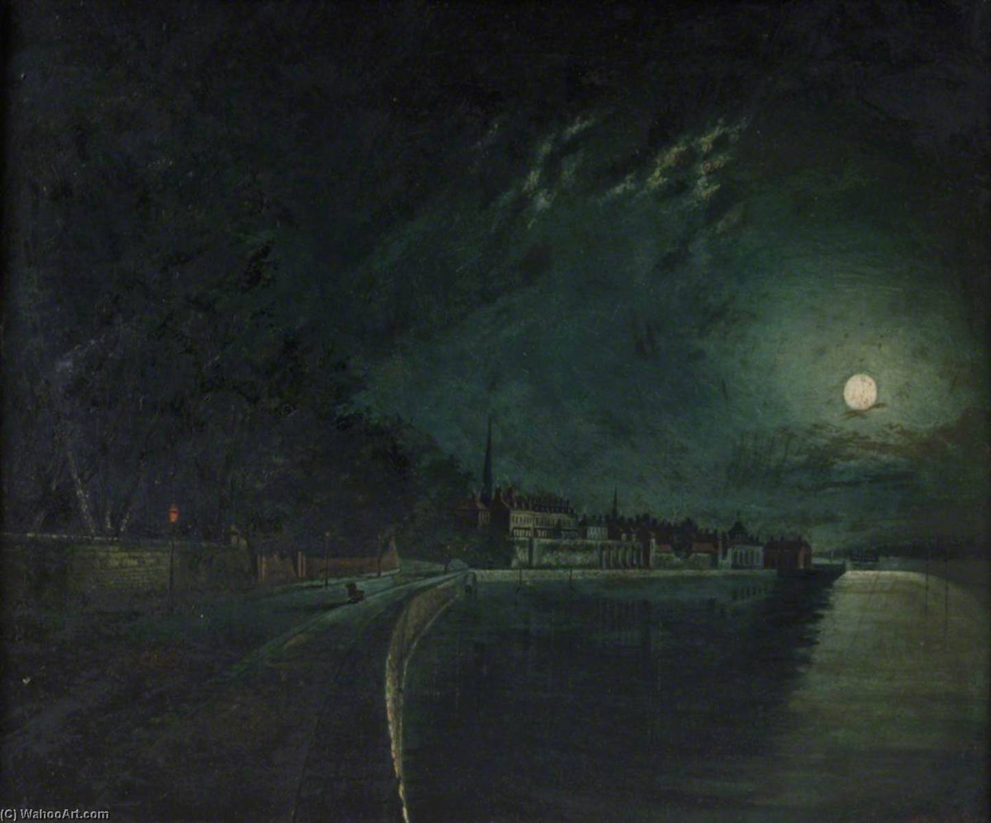 Western Shore by Moonlight, 1892 by Henry Edward Locke | Museum Quality Reproductions | WahooArt.com