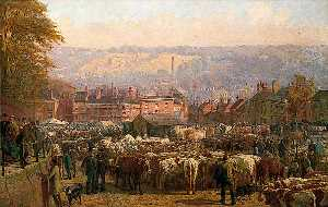 Frederick Bacon Barwell - The Hill at Norwich on Market Day