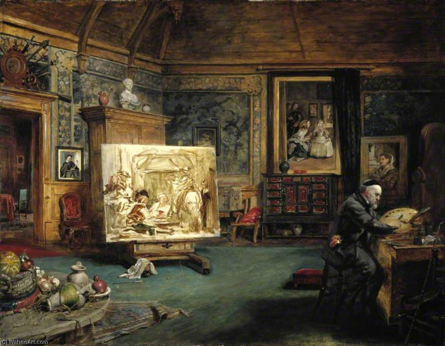 John Phillip (1817–1867), Artist, in his Studio, 1864 by John Ballantyne | Oil Painting | WahooArt.com