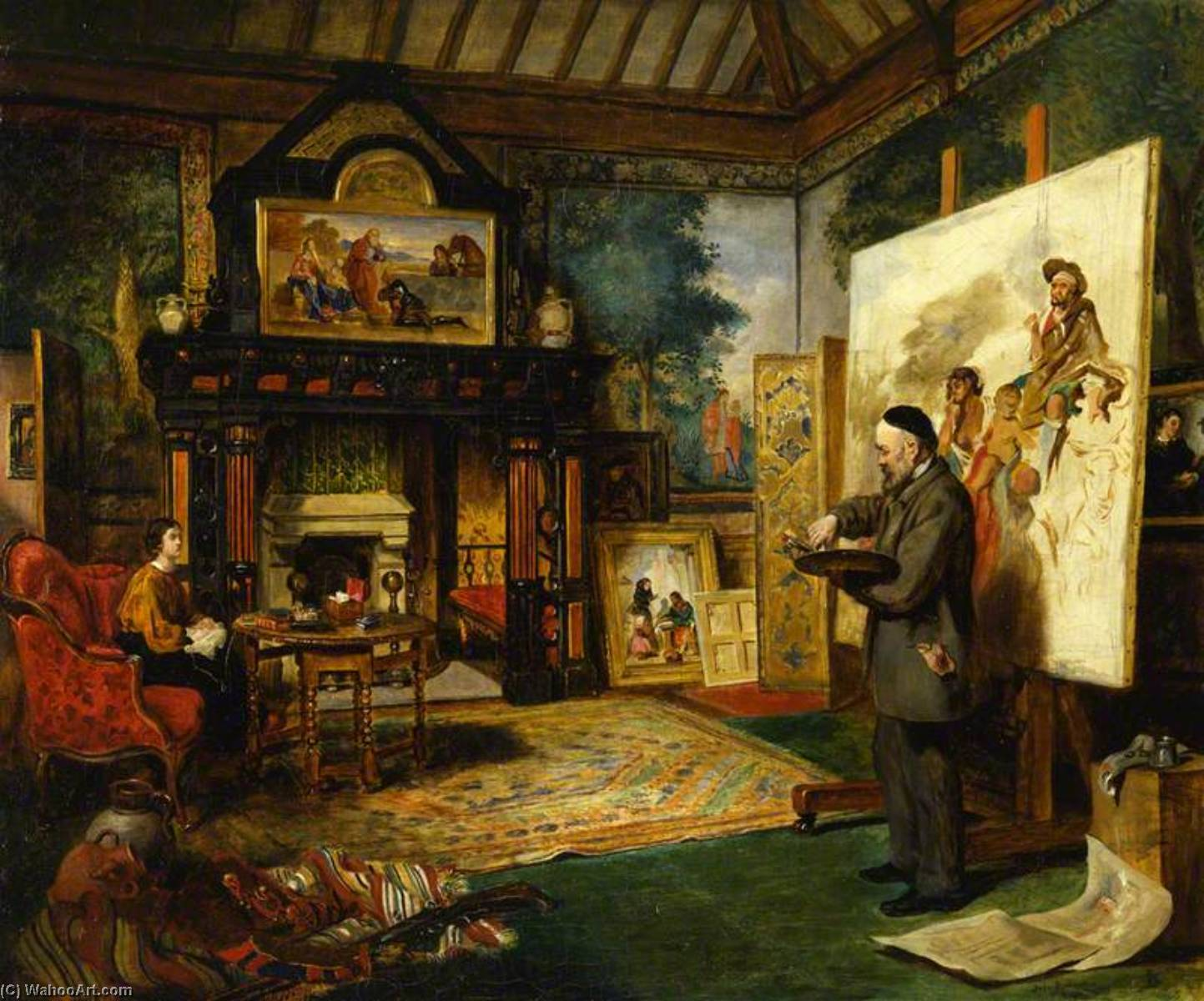 John Phillip in His Studio, 1864 by John Ballantyne | Museum Quality Reproductions | WahooArt.com