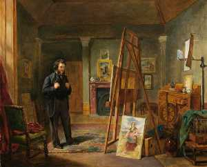 John Ballantyne - Thomas Faed at His Easel in His Studio