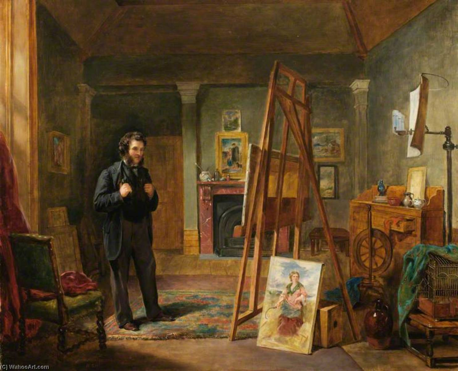 Thomas Faed at His Easel in His Studio, 1863 by John Ballantyne | Painting Copy | WahooArt.com