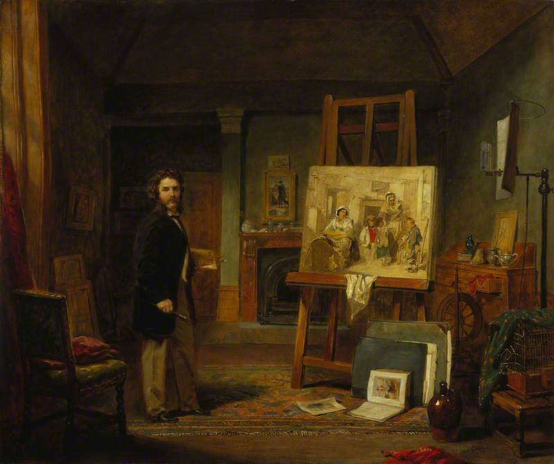 Thomas Faed (1826–1900), Artist, in his Studio, Oil On Canvas by John Ballantyne