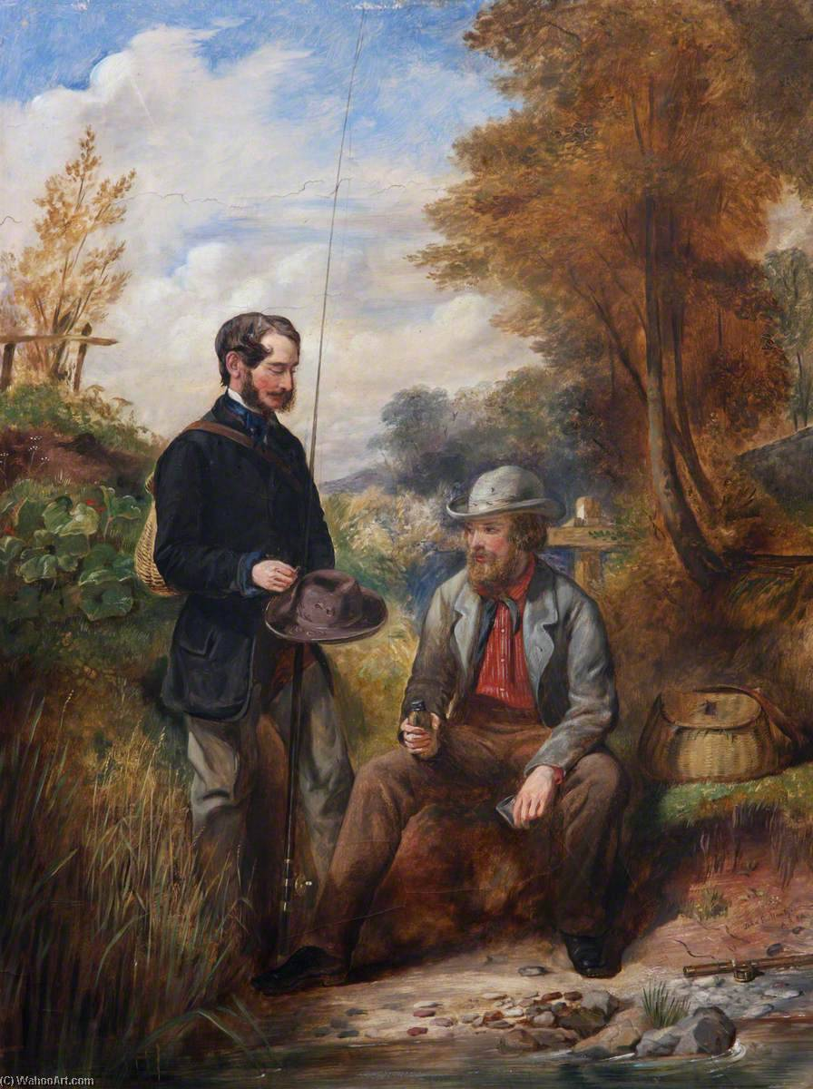 The Artist Fishing with His Brother, R. M. Ballantyne, Oil by John Ballantyne