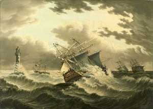 James H Wheldon - A Barque Struck by Lightning off Eddystone Lighthouse, Cornwall
