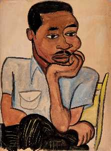 William Henry Johnson - Man in a Blue Shirt Harry