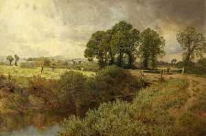 John Clayton Adams - Landscape with Haymakers