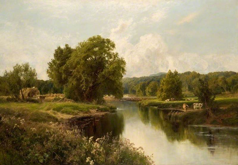 Weeds by the River Dart, 1893 by John Clayton Adams (1840-1906) | Painting Copy | WahooArt.com
