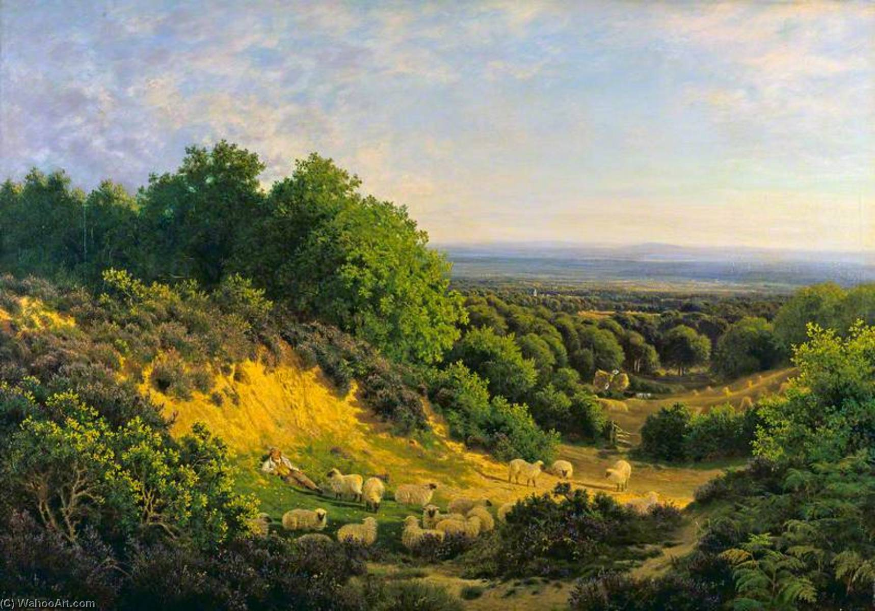 The Evening Sun View on Ewhurst Hill, near Guildford, 1878 by John Clayton Adams (1840-1906) | Famous Paintings Reproductions | WahooArt.com
