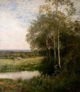 John Clayton Adams - 'Where the Waters Gently Pass', Landscape with a Stream