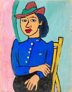 William Henry Johnson - Seated Woman in Red Hat and Blue Blouse
