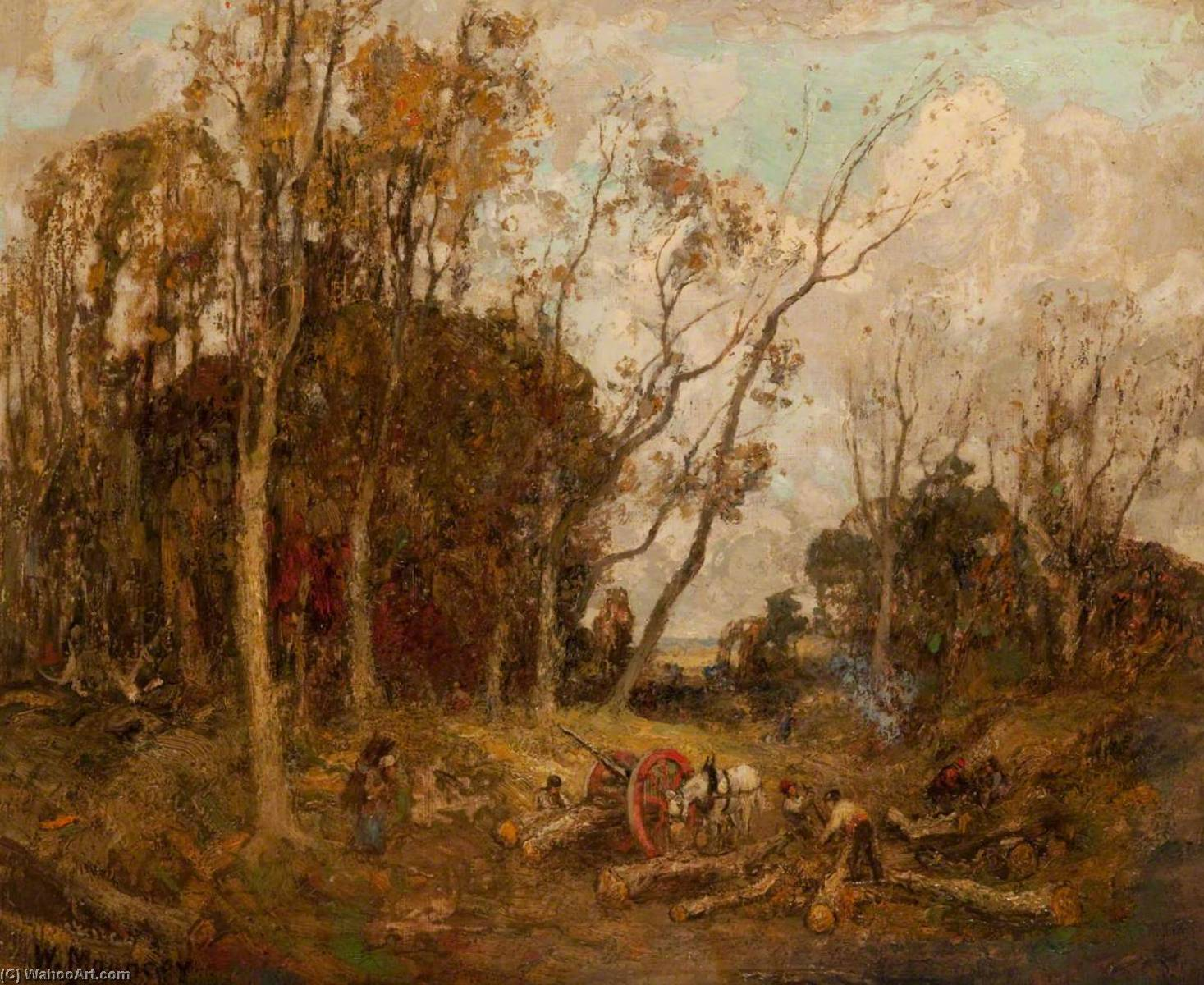 Carting Timber, Oil On Canvas by William Mouncey