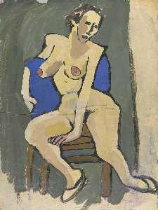 William Henry Johnson - Female Nude Seated on Chair