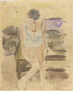 William Henry Johnson - Seated Woman In Blue Underwear