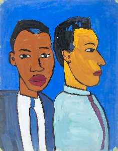 William Henry Johnson - Bust Length View of Two Men