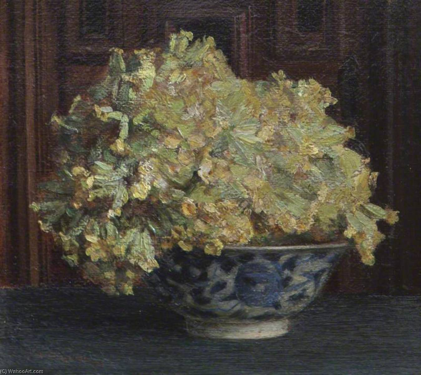 Cowslips in a Blue and White Bowl, 1874 by Theodore Blake Wirgman | Museum Quality Reproductions | WahooArt.com