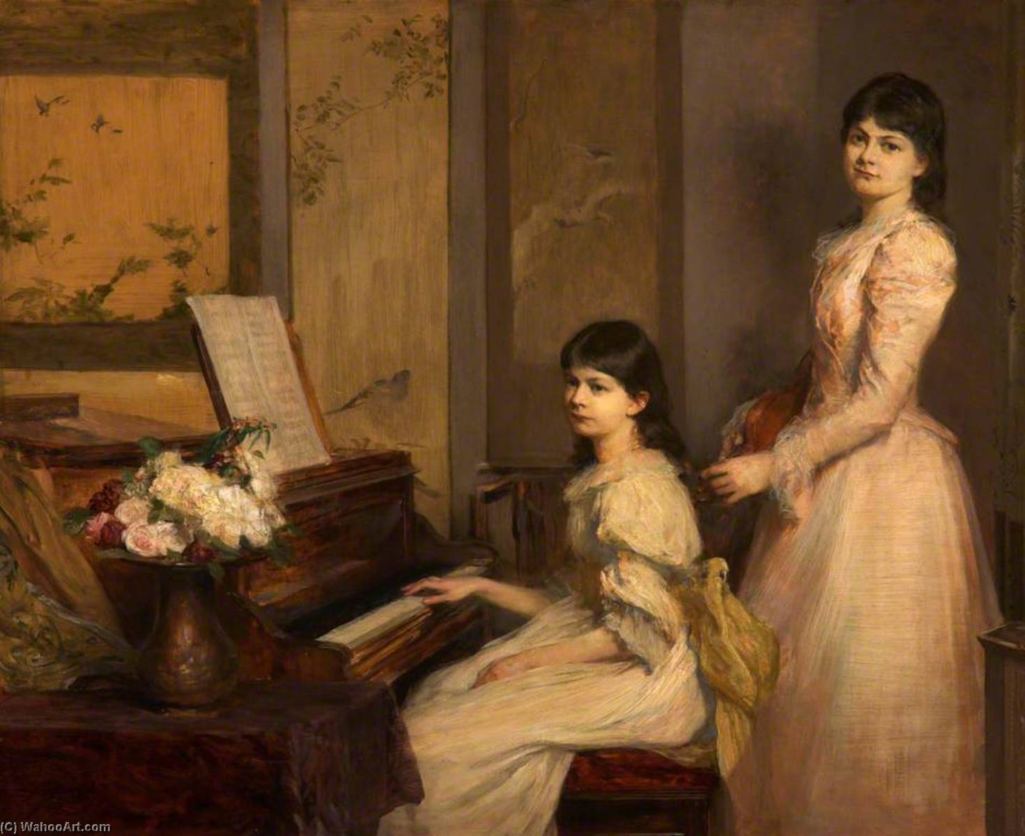 Dorothy and Marjory Lees, 1892 by Theodore Blake Wirgman | Art Reproduction | WahooArt.com