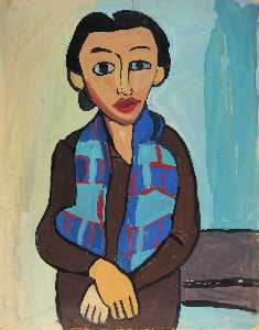 William Henry Johnson - Woman with Plaid Scarf