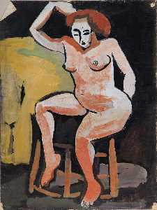 William Henry Johnson - Female Nude on Stool