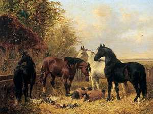 John Frederick Herring Ii - Horses and Pigs