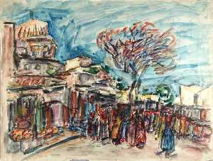William Henry Johnson - Tunisian Street Scene with Figures and Mosque