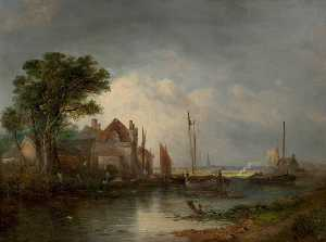 William Henry Crome - River Scene with Boats