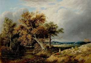 William Henry Crome - Landscape with Trees and Sheep