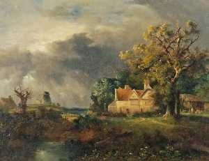 William Henry Crome - Landscape with a Farmhouse and a Mill