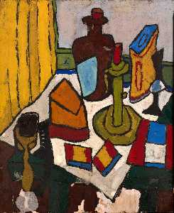 William Henry Johnson - Still Life with Candlestick and Jug