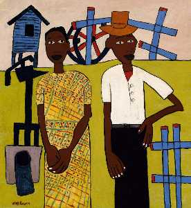 William Henry Johnson - Farm Couple at Well