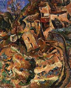 William Henry Johnson - Houses on Hill, Cagnes sur Mer, France