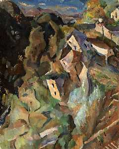 William Henry Johnson - Houses on a Hill