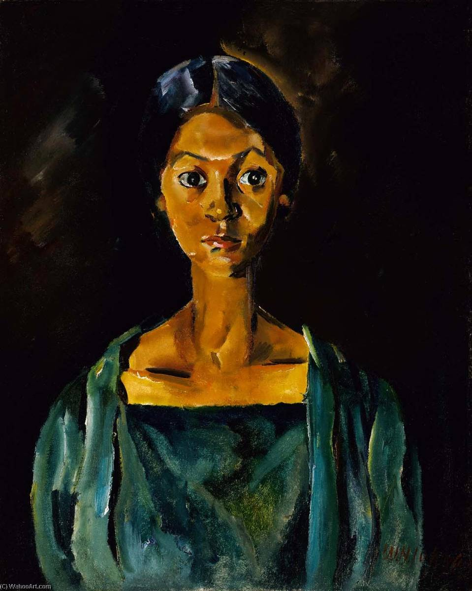 Girl in a Green Dress (Portrait Study No. 22), 1930 by William Henry Johnson (1901-1970, United States) | WahooArt.com