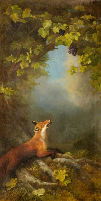 The Fox and the Grapes, Oil On Canvas by John Bucknell Russell