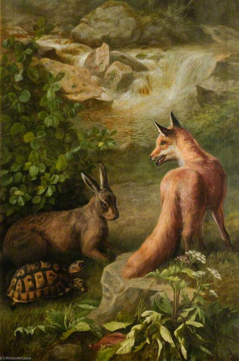 The Tortoise and the Hare by John Bucknell Russell | Oil Painting | WahooArt.com