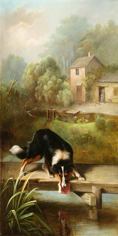 The Dog and the Piece of Flesh, Oil On Canvas by John Bucknell Russell