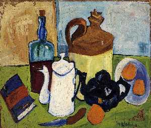 William Henry Johnson - Still Life with Book and Oranges