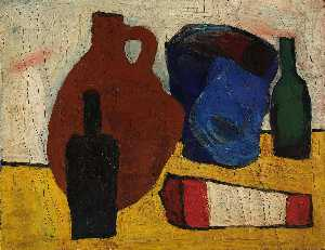 William Henry Johnson - Still Life Jug, Bottles